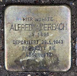 Photo of Alfred Auerbach brass plaque