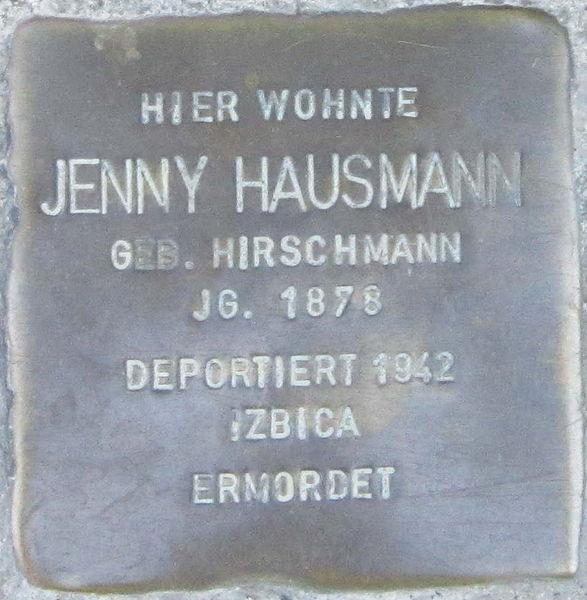 File:Stolperstein Würzburg Hausmann Jenny geb Hirschmann.jpeg