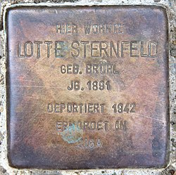 Photo of Lotte Sternfeld brass plaque