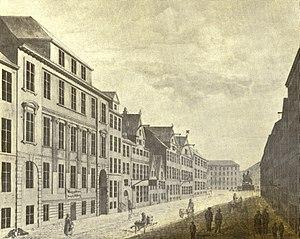 Store Strandstræde - Store Strandstræde in c. 1830