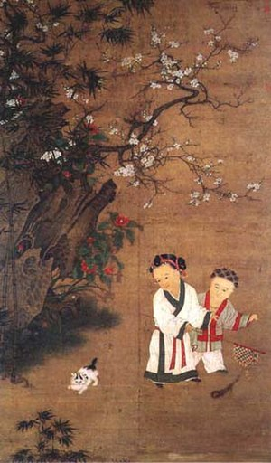 Chinese opera - 12th century painting by Su Hanchen; a girl waves a peacock feather banner like the one used in Song Dynasty dramatical theater to signal an acting leader of troops