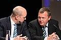 Sveriges statsminister Fredrik Reinfeldt talar med Danmarks statsminister Lars Loekke Rasmussen vid Nordiska Radets session i Reykjavik pa Island. 2010-11-02.jpg