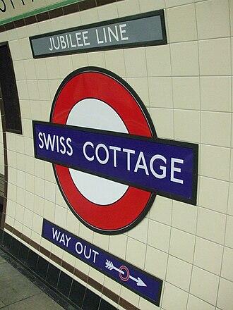 Swiss Cottage tube station - Image: Swiss Cottage stn roundel