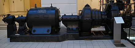 A 250 kW industrial steam turbine from 1910 (right) directly linked to a generator (left). - Steam turbine