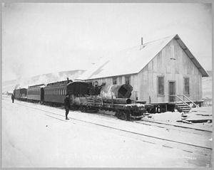 Tanana Valley Railroad - Train of the Tanana Valley Railroad at the station in Chatanika, Alaska, 1916.