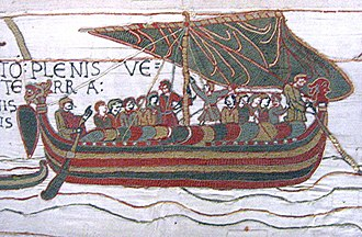 Port and starboard - Image from the Bayeux Tapestry showing a longship with a steering oar on the starboard side