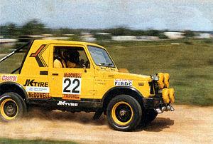 Sundaram Karivardhan - Karivardhan's rally tuned Team JK tyre Group A2(IND) Rally Gypsy driven by Hari Singh in the 1992 Rally D'Endurance
