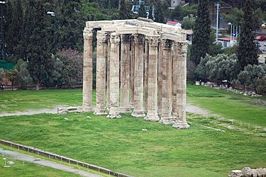 Temple of Zeus from Athens Acropolis 2010.jpg