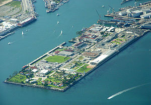 Federal Correctional Institution, Terminal Island - Aerial photograph of Reservation Point on Terminal Island, with the prison in the top right, above the Coast Guard base