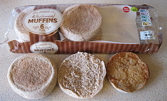 English muffin - Wholemeal English muffins from a Tesco in Abingdon, England.