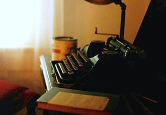 Novelist - William Faulkner's Underwood Universal Portable typewriter in his office at Rowan Oak, which is now maintained by the University of Mississippi in Oxford as a museum