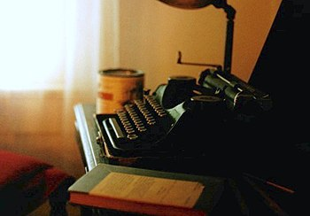 William Faulkner's Underwood Universal Portable typewriter in his office at Rowan Oak, which is now maintained by the University of Mississippi in Oxford as a museum.