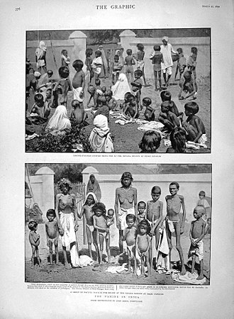 Indian famine of 1896–97 - Famine relief at the Zenana Mission at Deori Panagar, near Jabalpur, India, March 1897