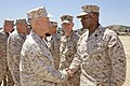 The 35th Commandant of the Marine Corps, Gen. James F. Amos, left, greets Sgt. Maj. Karl S. McCants while visiting with Marines of 9th Communications Battalion and 1st Radio Battalion at Marine Corps Air Station 130417-M-LU710-223.jpg