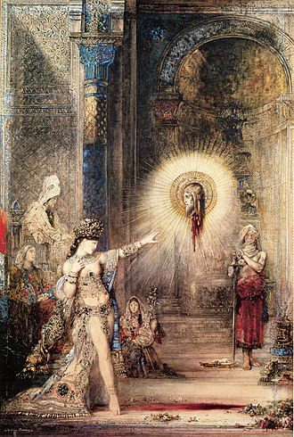 Beheading of John the Baptist - Salome and the Apparition of the Baptist's Head by Gustave Moreau. Watercolor painting. 1876. Now in Musée d'Orsay, Paris, France.