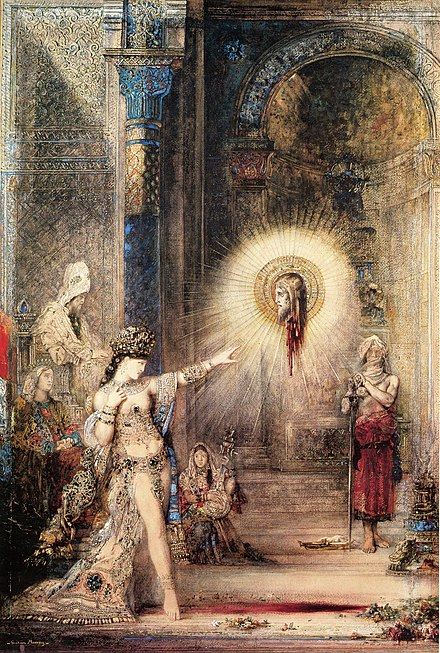 Salome and the Apparition of the Baptist's Head, watercolor by Gustave Moreau (1876) The Apparition, Gustave Moreau 1876.jpg