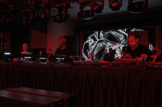 Detroit techno - The Belleville Three performing at the Detroit Masonic Temple in 2017. From left to right: Juan Atkins, Kevin Saunderson, and Derrick May