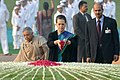 The Chairperson, National Advisory Council, Smt. Sonia Gandhi paying floral tributes at the Samadhi of the former Prime Minister, Pandit Jawaharlal Nehru on his 122nd birth anniversary, at Shantivan.jpg