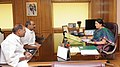 The Chief Minister of Puducherry, Shri N. Rangaswamy meeting on the Union Minister for Human Resource Development, Smt. Smriti Irani, in New Delhi on February 27, 2015.jpg