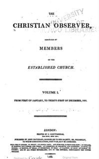 <i>Christian Observer</i> monthly evangelical periodical (London : Hatchard and Co., [1802-1874].)