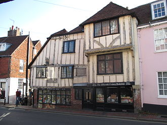 Lewes - The Fifteenth Century Bookshop, on the corner of High Street and Keere Street