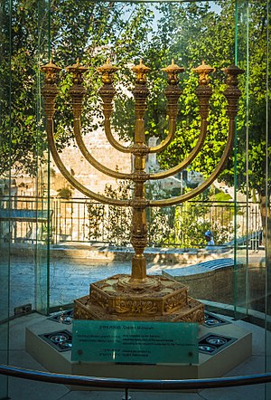 The Temple Institute - The model of the Menorah Temple next to the Temple Institute