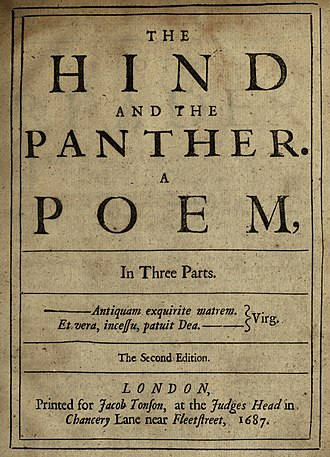 The Hind and the Panther - Title page to the 1687 2nd edition