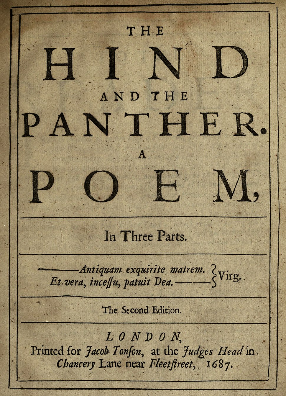 The Hind and the Panther 1687