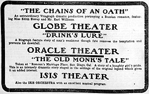 The Old Monk's Tale - A contemporary newspaper advertisement for several films, including The Old Monk's Tale.