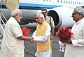 The Prime Minister, Shri Narendra Modi being welcomed by the Governor of Bihar, Shri Keshari Nath Tripathi and the Chief Minister of Bihar, Shri Nitish Kumar, on his arrival, at Patna Airport, Bihar on July 25, 2015 (1).jpg