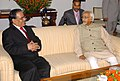 "The Prime Minister of Nepal, Mr. Pushpa Kamal Dahal ""Prachanda"" meeting with the Vice President, Shri Mohd. Hamid Ansari, in New Delhi on September 15, 2008.jpg"