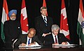 The Secretary, Department of Atomic Energy Srikumar Banerjee and the Canadian Foreign Minister, Mr. Lawrence Cannon signing the India-Canada Agreement for Cooperation in Peaceful Uses of Nuclear-Energy.jpg