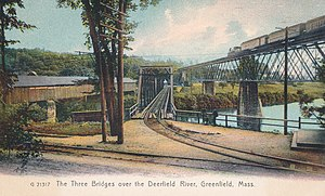 Deerfield River - Early bridges over the Deerfield River in Greenfield, Mass., circa  1915