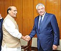 The Union Home Minister, Shri Rajnath Singh shaking hands with the Minister of the Interior of Russia, Mr. Vladimir Kolokoltsev, during the Home Minister's meeting, in New Delhi on September 07, 2015.jpg