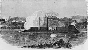Battle of Nashville - On December 7, 1864 the USS Neosho engaged the Confederate batteries at Bell's Bend. This sketch shows the ironclad moving upstream, firing on the batteries on the north bank.