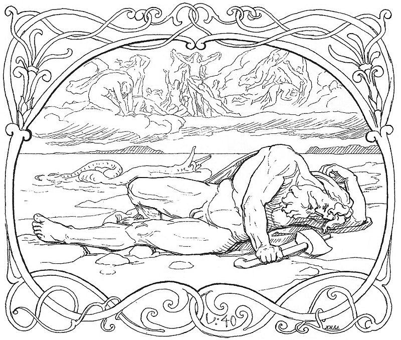 The death of Thor and J%C3%B6rmungandr by Fr%C3%B8lich.jpg