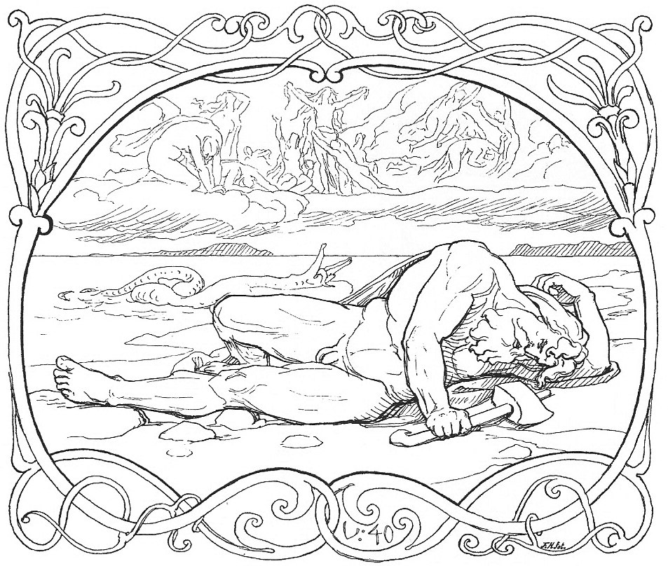 The death of Thor and Jörmungandr by Frølich