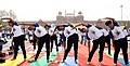The participants in the mass performance of Common Yoga Protocol, on the occasion of the 4th International Day of Yoga -2018, at Red Fort, in Delhi on June 21, 2018 (1).JPG