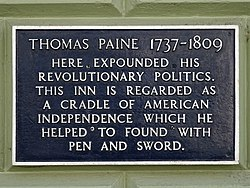 Photo of Thomas Paine blue plaque