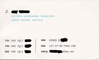 "Front and back of a London-branch employee's business card showing the original Thus logo and internet domain name ""let-it-be-thus.com"" - circa 2000. Thus Business Card - Page 2.jpg"