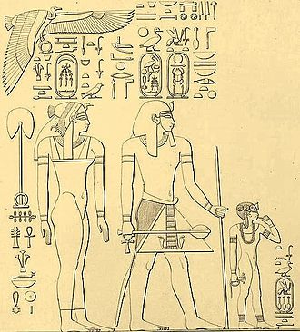 Clothing in the ancient world - Queen Ahmose, Pharaoh Thutmose I, and daughter Neferubity – note the youthful sidelock on the child and the royal attire and wigs on the adults