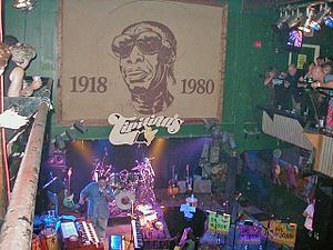 Tipitina's - The interior of the club with big portrait of Professor Longhair