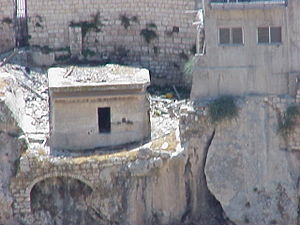 Rock-cut tombs in ancient Israel - Remnants of the Monolith of Silwan, a First Temple period tomb.