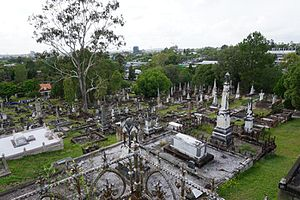 Toowong Cemetery - view to South-East corner of cemetery from Bell Family memorial (2015).jpg