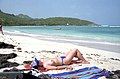 Topless woman at beach of Saint-Barthélemy 2006 1.jpg