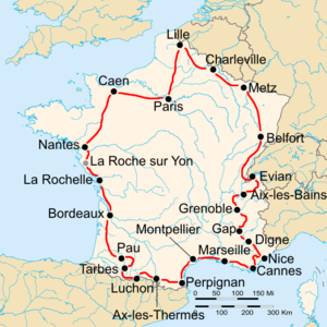 1934 Tour de France - Route of the 1934 Tour de France Followed clockwise, starting in Paris