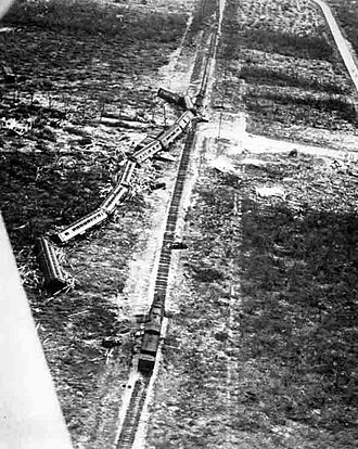 1935 Labor Day hurricane - Florida East Coast Railway Overseas Railroad relief train derailed near Islamorada, Florida, during the 1935 Labor Day hurricane.