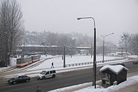 Tram track loop in Gdansk-Siedlce winter.JPG