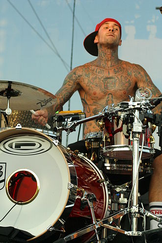Travis Barker - Barker in September 2008, performing at the TMobile Block Party in Columbia, South Carolina