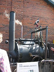 A replica of Richard Trevithick's 1801 road locomotive 'Puffing Devill'